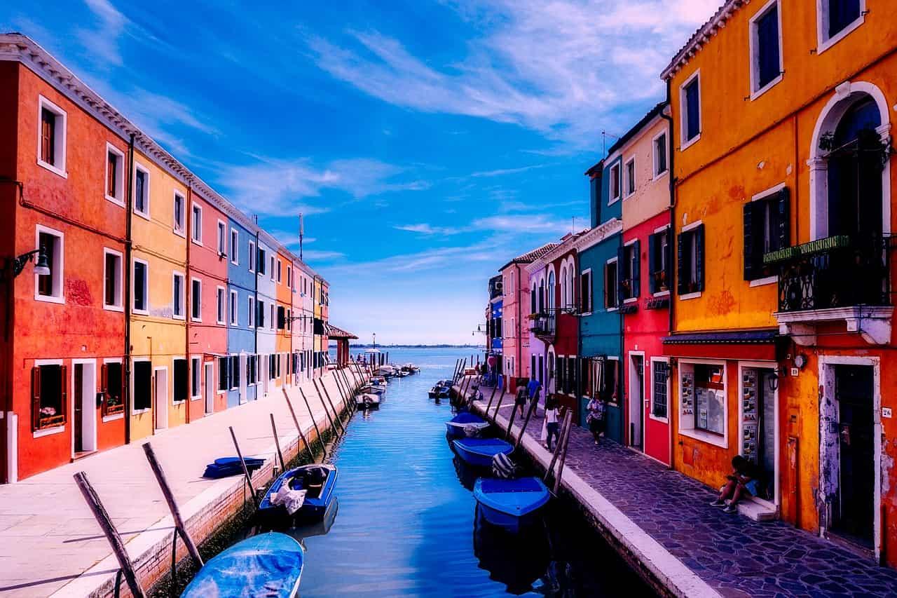 Burano und Venedig Italien